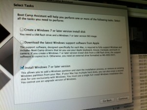 Bootcamp install of Windows 7 Pro